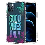 MOSNOVO Good Vibes Only Quotes Pattern Designed for iPhone 12 Pro Max Case 6.7 Inch,Clear Case with Design Girls Women,TPU Bumper with Protective Hard Case Cover