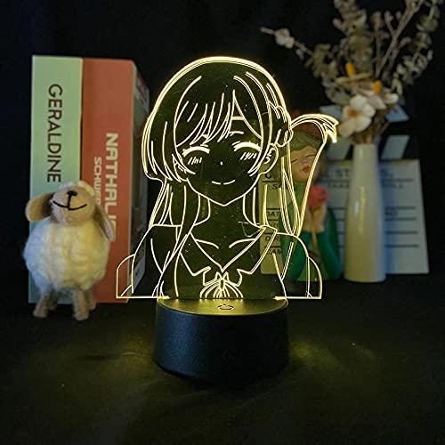 Ichinose Chizuru - Lámpara LED de ilusión 3D (16 colores, con mando a distancia, carga USB, decoración de dormitorio infantil, luz de noche.