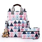 WPQBS Bolsa de madre y bebé,Nueva bolsa de pañales impermeable para mamá Mochila de pañales de maternidad Impresión Organizador de cochecito de bebé Bolsa de cambio de enfermería para cuidar, triángul