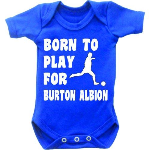 Born to Play Football for Burton Albion Short Sleeved Baby Bodysuit Romper Vest Grow in Royal Blue & White Motif