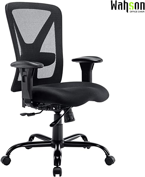 Big And Tall Office Chair 400 LBS Recline Mesh Mid Back Task Chair For Large Person 400 LBS Black