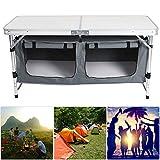 lahomie Armario Cocina Plegable Camping, Cocina de Aluminio Plegable para Camping Mesa de Camping para Acampar al Aire Libre Picnic Barbacoa