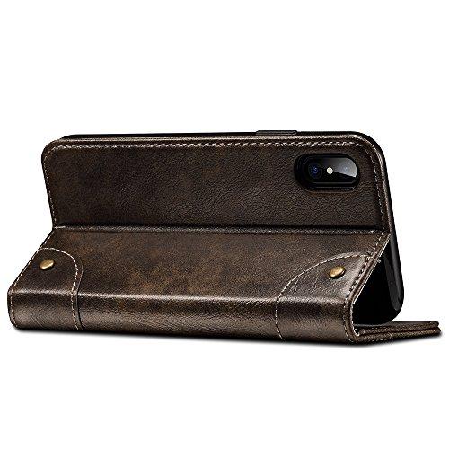 """HARRMS Apple iPhone 7/8 4,7"""" Leder Hülle Flip Case Handytasche und Brieftasche mit Kreditkarten Kartenfach mit Unsichtbarem Magnet Verschluss Standfunktion, Schwarz"""