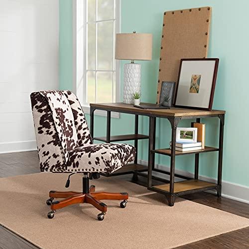 Linon Violet Office Plush Brown/White Cow Print Chair