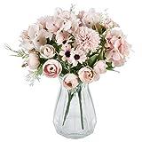 Krelymics Künstliche Blumenstrauß 2 Stück Rosa Fälschung Pfingstrosen Hortensien Nelken Kunstblumen Blumenarrangements für Hochzeits Blumenstrauß Haus Garten Tischdekoration