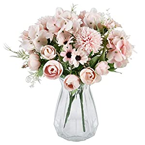 MARTINE MALL 2 Packs Artificial Flowers Bouquet Fake Peony Hydrangea Carnations Bouquet Fake Flower Arrangements for Wedding Decor Table Centerpieces (Pink)