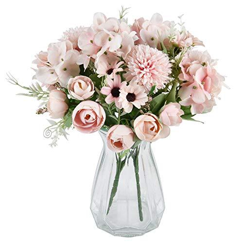 Sunm Boutique Künstliche Blumen Künstliche Blumenstrauß 2 Stück Rosa Fälschung Pfingstrosen Hortensien Nelken Kunstblumen Blumenarrangements für Hochzeits Blumenstrauß Tischdekoration.