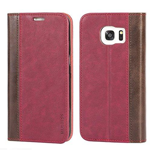 Mulbess Funda Samsung Galaxy S7 Edge [Libro Caso Cubierta] Billetera Cuero de la PU Carcasa para Samsung Galaxy S7 Edge Case, Vino Rojo