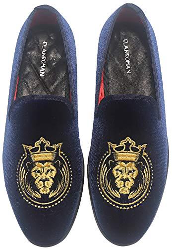 ELANROMAN Schwarze Loafer Herren Samt Gold bestickt Hochzeit Party Schuhe, Blau (navy), 38.5 EU