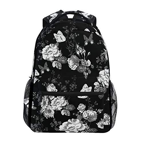 Ahomy Schulrucksack Büchertasche für Teenager Mädchen Jungen, Vintage Schwarz Weiß Rosen Blumen Blumen Reise Rucksack Satchel Wandertasche für Damen Herren