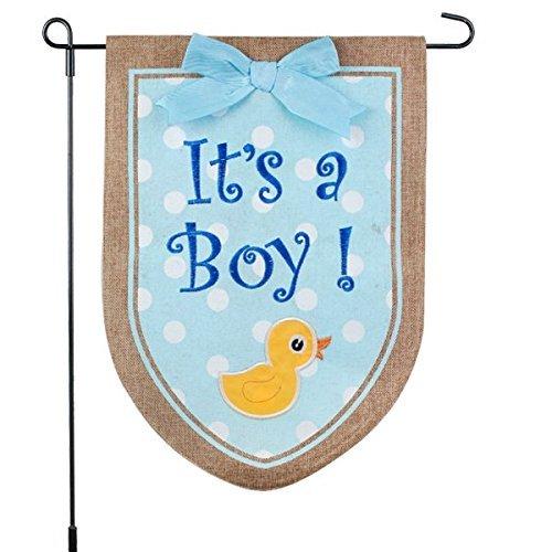 Nuevo bebé pancarta Its A Boy bandera de Jardín, Yard Sign, decoración del coche–Azul Diseño de pato en yute bandera–12x 18–Casa Jardín bandera