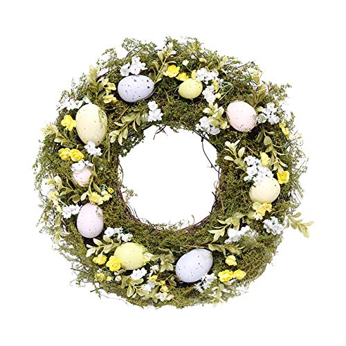 æ— Spring Easter Wreath with Artificial Easter Eggs, Flower, and Green Leaves,Faux Green Leaves Wreath Everyday Wreath for Front Door Wall Festival Celebration Fireplace Window Party Decor