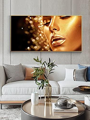 Labios dorados Maquillaje facial Mujer Chica Modelo Salón de belleza Pintura en...