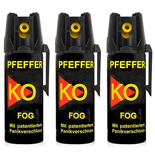 Pfefferspray KO Fog mit Sprühnebel 50 ML   Hundeabwehr Selbstschutz Abwehrspray Verteidigungsspray (3er Set)