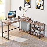 BON AUGURE L Shaped Computer Desk, Industrial Corner Desk with Shelves, Rustic Office Desk Table for Gaming and Home Office (59 Inch, Vintage Oak)