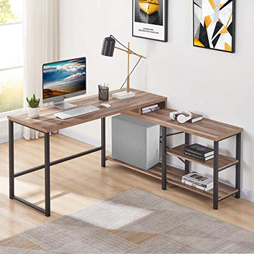 BON AUGURE L Shaped CornerComputerDesk, Rustic Wood and Metal Office Desk with Storage Shelves, Industrial Writing Table for Home Office (59 Inch, Rustic Oak)