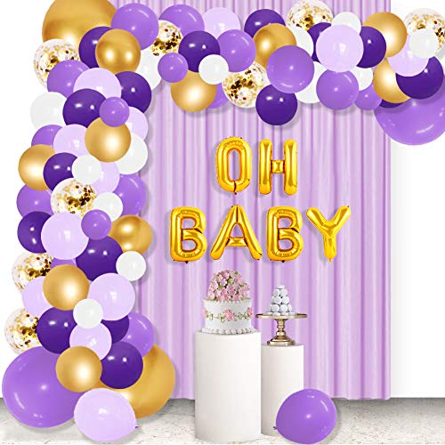 129 Pcs Purple Balloons Garland Arch Kit,Oh Baby Balloons Arch Kit with Gold Confetti Balloons Metallic Purple and Gold White Light Purple Macaron Purple Balloons for Birthday Party Unicorn Mermaid Lavender Theme Party Bridal Shower Baby Shower