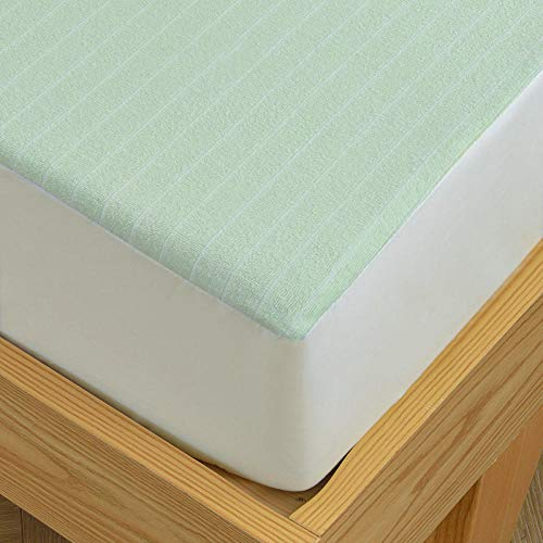 N / A Luxurious Fitted Sheet,Pure cotton waterproof bed sheet urine-proof and breathable baby bed mattress protector thin bedding-green_120cmx200cm+30cm