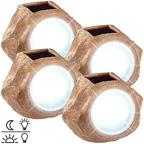 Royal Gardineer Solarlampen Steinoptik: 4er-Set Solar-LED-Gartenlicht in Stein-Optik, wechselbarer Akku, IP44 (Solar-Stein Garten)