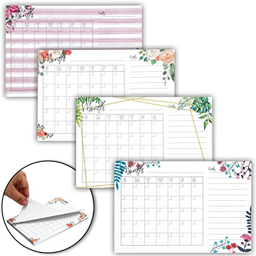 to Do List Calendar Sticky Notes, Leaf and Watercolor Floral Design (6 x 4 Inches, 4-Pack)