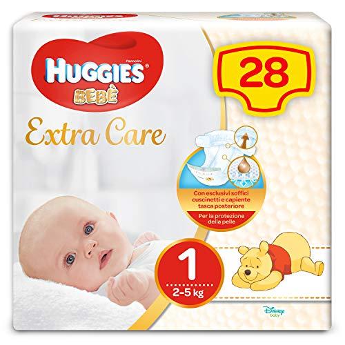Huggies Bebè Extra Care Pannolini, Taglia 1 (2-5 kg), 1 Pacco da 28 Pezzi