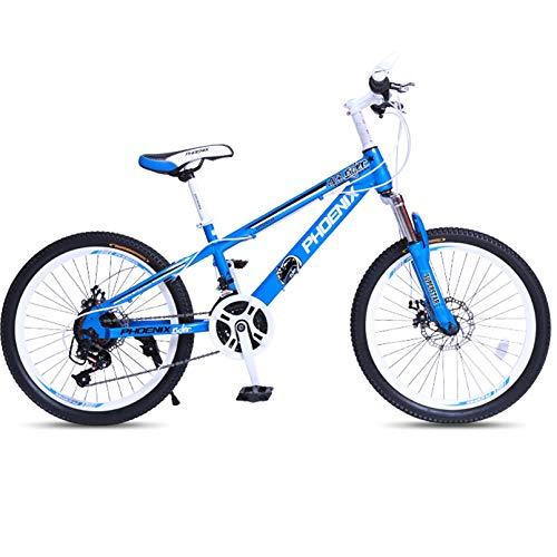 BNMKL Bicicleta para Niños Niños, 20 Pulgadas 21 Velocidad Mountain Bike para Niños Y Niñas, Horquilla De Suspensión, Acero De Alto Carbono, Rueda De Radios,Azul