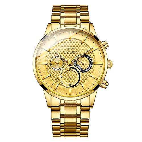 OLMECA Men's Watch Sports Dress Fashion Analog Quartz Watches Stainless Steel Chronograph Women Watch Waterproof Wrist Watch for Men Gold Color