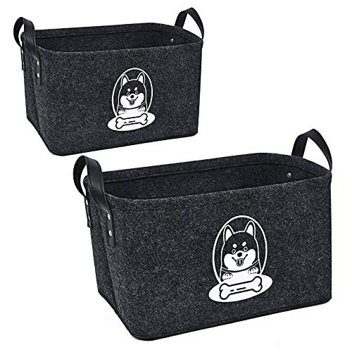 HXX 2 Piezas Cestas de Almacenamiento para Juguetes Perros, Fieltro Cajas de Mascotas Juguetes, Organizador Plegable Caja de Almacenaje para Perros Correas Ropa Gris Oscuro (S + L)