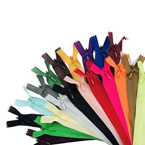 SUPVOX 23 piezas de cremalleras metálicas cremalleras invisibles para accesorios de costura artesanales de bricolaje 25 cm (color mixto)