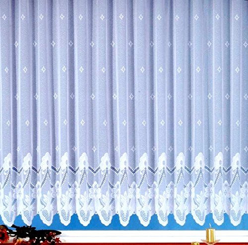 wohnfuehlidee Fertig-Store Mara, Jacquard mit Kräuselband, halbtransparent, Farbe weiß Größe HxB 100x300 cm