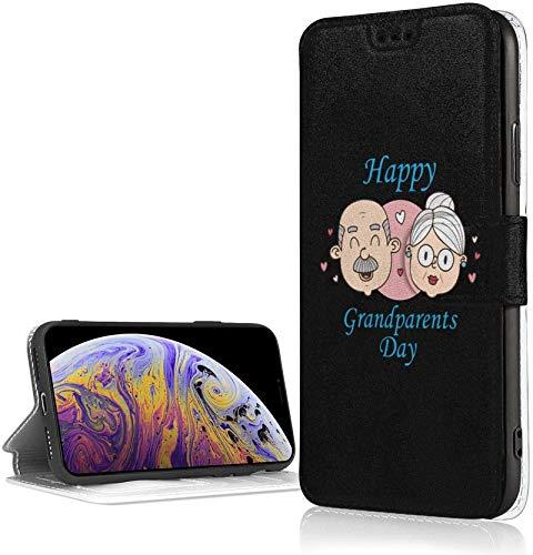 Estuche para personas mayores del Día Nacional de los Abuelos para iPhone Xr Estuche para billetera de cuero Pu de lujo Funda con tapa tipo folio con ranuras para tarjetas Correa para la muñeca