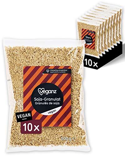 Veganz Soja-Granulat - veganes Hack mit Protein - als Fleischersatz zum Kochen - vegetarische Bolognese, Burger, Chili sin Carne - 10x 500 GR