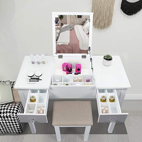 AODAILIHB Vanity Desk with Flip Top Mirror and Tool Set Dressing Table Makeup Desk Large Storage Capacity Work and Study Writing Table Bedroom Furniture