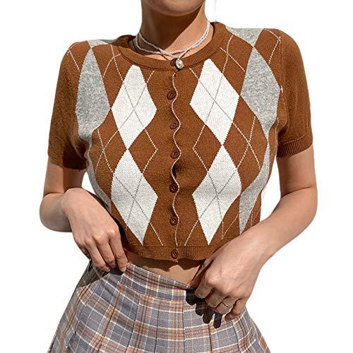 Argyle Y2K - Chaqueta de punto para mujer, corte ajustado, manga corta, con botones, chaqueta de punto marrón S