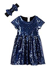 Navy Toddlers Sequin Dress
