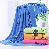Toalla para perros, toallas de microfibra para secar perros, toallas de baño para perros, toallas de playa, toallas absorbentes adecuadas para perros pequeños y medianos (azul 55x28 pulgadas)