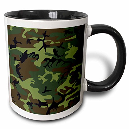 "3dRose mug_38095_4""Green and Brown Camouflage"" Two Tone Black Mug, 11 oz, Multicolor"