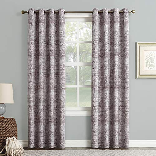 "Sun Zero Darren Distressed Woven Jacquard Blackout Grommet Curtain Panel, 50"" x 95"", Thistle"