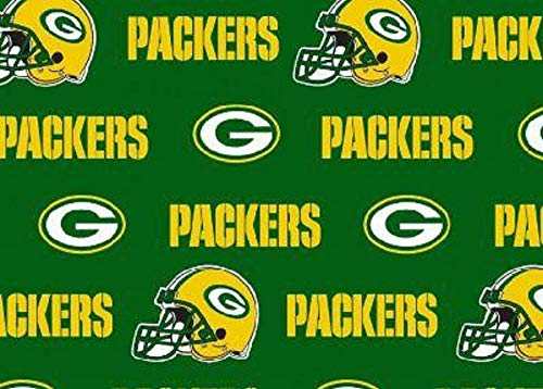 Packers Solid Green Cotton Fabric
