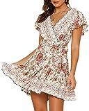Abravo Mujer Vestido Bohemio Corto Florales Nacional Verano Vestido Casual Magas Cortas Chic de Noche Playa Vacaciones,Rosa,M