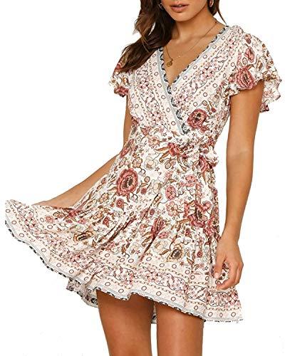 Abravo Mujer Vestido Bohemio Corto Florales Nacional Verano Vestido Casual Magas Cortas Chic de Noche Playa Vacaciones,Rosa,S