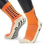 1 Par / 3 Pares Calcetines de fútbol antideslizantes Calcetines deportivos, Calcetines deportivos de fútbol / baloncesto / hockey deportivos con puntos de goma para hombres y mujeres (naranja,1 Par)