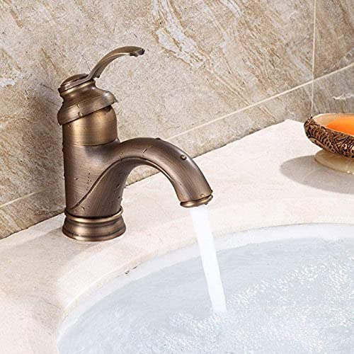 Fregadero estilo grifo de baño de una manija grifo de latón antiguo sobre encimera lavabo grifo lavabo