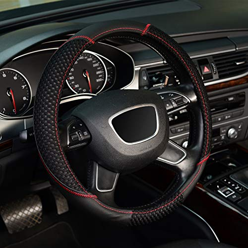 ZHOL Universal 15-inch Steering Wheel Cover, Microfiber Leather and Viscose Fiber, Breathable, Non-Slip, odorless, Warm in Winter, Cool in Summer, Black