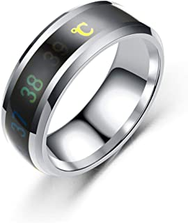 Fashion new smart temperature couple ring mood temperature display ring 1pc (13,gold)