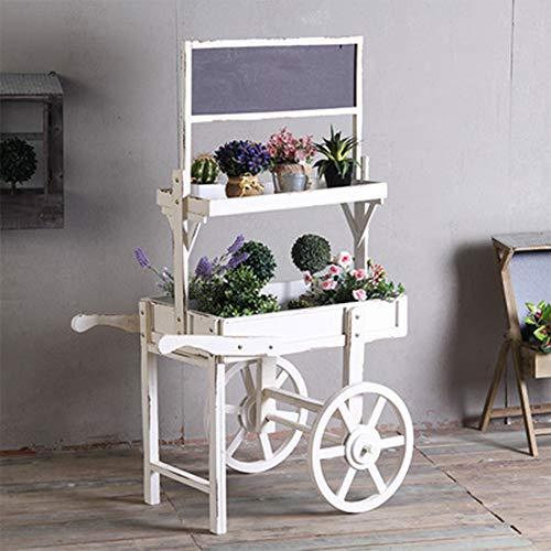 JKXWX Pflanzenständer, Holzkarren Blumenständer, mit Tafeldekorationsrahmen Kleine Kreativgeschäft Dekoration Requisiten (Größe: 80,5 * 56 * 125 cm),White