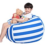 Lukeight Stuffed Animal Storage Bean Bag Chair for Kids, Zipper Storage Bean Bag for Organizing Stuffed Animals, Stripe Bean Bag Chair Cover, (No Beans) Large