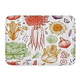 Fußmatten, Gemüse vom Bauernhof Karotten Zwiebel Mais Knoblauch Sonnenblumen Salat, Küchenboden Badteppich Matte Saugfähig Innen Badezimmer Dekor Fußmatte rutschfest