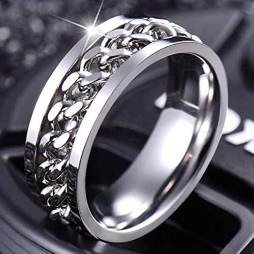 WanBeauty Anillo de dedo joyería de acero inoxidable abrebotellas de cerveza giratoria cadena barra herramienta unisex nerviosa moda anillo giratorio banda anillo único y elegante regalo plata US 7