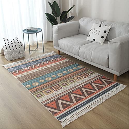 DUBENS Alfombra de estilo marroquí bohemio con borlas para cocina, baño, alfombra de pasillo tribal, alfombra de entrada de algodón, alfombra para el suelo (A,140 x 200 cm)